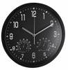 Ceas rotund de perete, D-35cm, cifre arabe, termometru/hidrometru, ALCO - rama neagra - dial negru