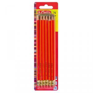 Creion grafit mina HB lacuite rosu 24 creioane set HERLITZ