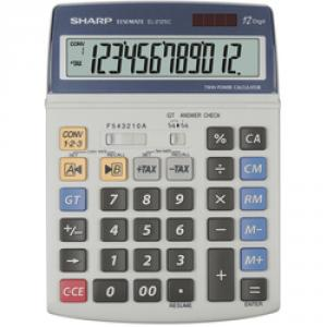 Calculator de birou, 12 digits, 195 x 140 x 23 mm, dual power, SHARP EL-2125C - gri
