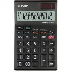 Calculator de birou, 12 digits, 155 x 97 x 12 mm, dual power, SHARP EL-128CWH - negru