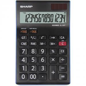 Calculator de birou, 14 digits, 176 x 112 x 13 mm, dual power, SHARP EL-145TBL - negru