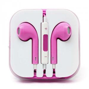 Casti Handsfree Cu Telecomanda Si Microfon iPhone 5s iPhone 5 Roz