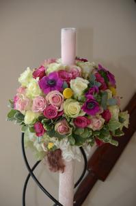 Lumanari si aranjamente florale botez