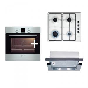 Pachet promo Bosch: Cuptor electric HBN239E1L Inox + Plita gaz PBP615B81E Inox + Hota telescopica DHI635HX
