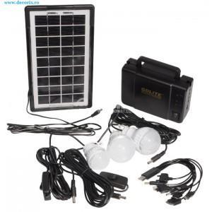 Kit panou solar cu baterie si 3 becuri