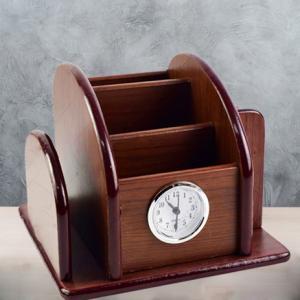 Suport din lemn pentru birou cu ceas