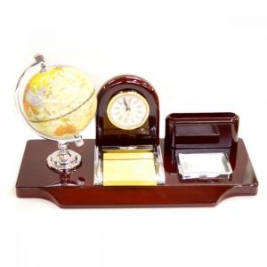 Suport de birou cu glob pamantesc si ceas