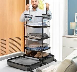 Raft pliant tip organizator portabil pentru bagaj. Sleekbag