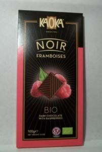 Ciocolata bio neagra cu zmeura KAOKA