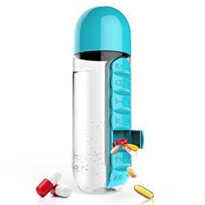 Sticla de apa sport 600ml cu buzunar zilnic incorporat pentru vitamine