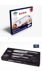 Tava din otel carbon + Set 3 cutite inox Peterhof Pachet promotional