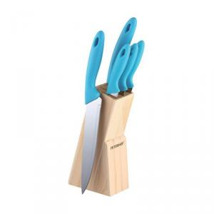 Set cutite 6 piese Peterhof, inox, suport din lemn, Albastru