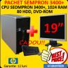 Pachet hp dc5750, sempron 3400+, 1 gb, 80 hdd, dvd + lcd 19 inch
