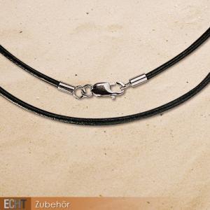 Snur de piele neagra 42,5 cm cu inchizatoare de inox Z400