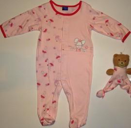 Salopeta bebe roz cu ursulet - Haine Bebelusi