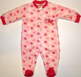Salopeta bebe roz cu inimioare - Haine Bebelusi