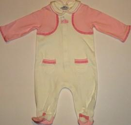 Salopeta bebe alba cu roz -  Haine Bebelusi