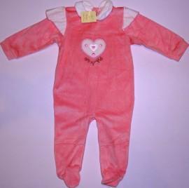 Salopeta bebe roz cu inimioara - Haine Bebelusi