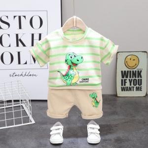 Costum pentru bebelusi cu tricou crem - Happy Dino