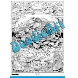 Set postere de colorat + 12 markere duble - Acvariu - Doodle Art