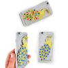 Husa protectie telefon transparenta cu paun 3d in