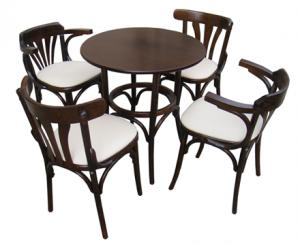 Masa si scaune lemn curbat