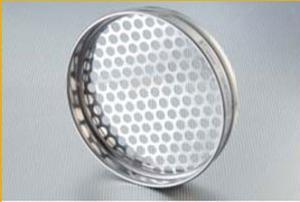 Site din inox cu diametru de 200 mm si inaltimea de 50 mm, tabla perforata, ochiuri rotunde