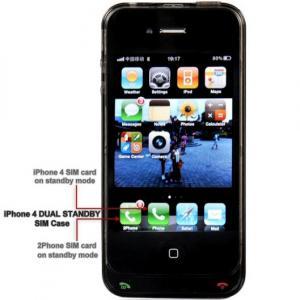 QYG 2Phone Dual SiM pentru iPhone 4/4S -negru