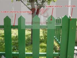 Gard lemn - elementi orizontali de sustinere