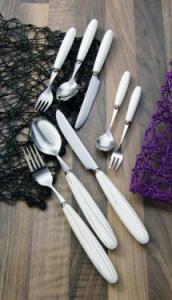 Belt: Lingura masa inox cu maner portelan, alb fara decor