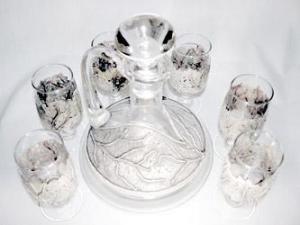 Sticla argintata in relief