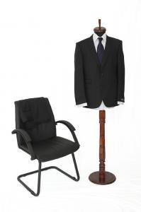 Costum negru cu dungi fine Seroussi