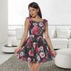 Rochie clos cu model floral natalia negru