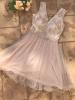 Rochie clos cu tull tip corset cream