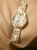 Ceas de dama cu imprimeu floral joy