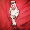 Ceas de dama cu imprimeu floral rose
