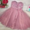 Rochie clos tip corset cu tull si aplicatii Lady roz
