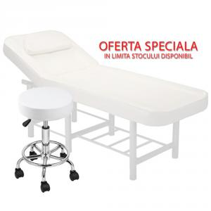 Pachet salon - Scaun hidraulic, Taburet + Masa cosmetica, Pat masaj profesional, 186x70x65cm, Piele Ecologica, Alb