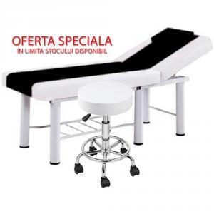 Pachet salon - Scaun hidraulic, Taburet rotativ + Masa cosmetica, Pat masaj profesional, 186x70x65cm, Piele Ecologica, Alb-Negru
