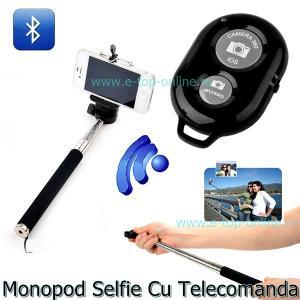 Monopod Selfie Extensibil Cu Telecomanda Bluetooth