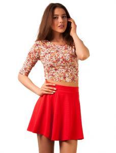 """Bluza Scurta Inflorata """"Pink Cashmere"""" Red"""