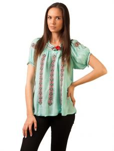 """Bluza Panza """"Traditional Embroidery"""" Mint Green&Red"""