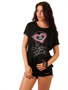 """Tricou """"Listen To Your Heart Pearl"""" Black"""