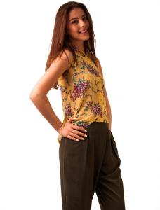 """Bluza Din Voal """"Girly Leaves"""" Yellow"""