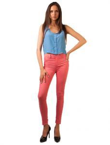 "Pantaloni Drepti ""Like The Sea Love"" Pink"