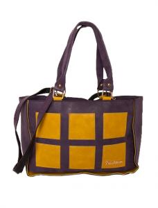 "Geanta ""Fashion Squares"" Purple&Mustard"
