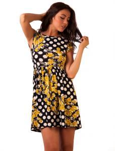 "Rochie Casual ""Meet Me Halfway Dots"" Black&Yellow"