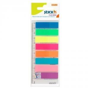 Index plastic 45 x 12 mm, 8 x 25 file/set + rigla, Stick'n