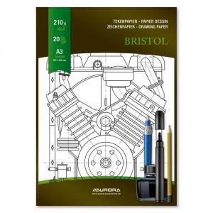 Bloc desen A3, 20 file 210g/mp, AURORA Bristol
