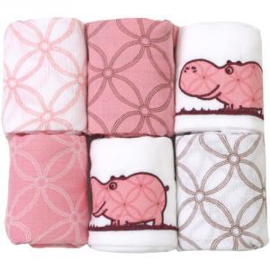 Set 6 Museline din Bumbac Hipo Pink